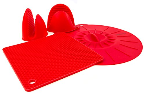 Instant Perrrt Accessories Silicone Starter Kit  Pair of Mini Mitts Pot Holder and Sealing Lid