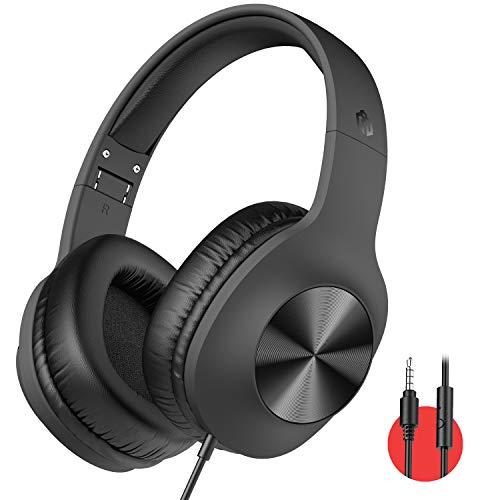 iClever HS18 - Auriculares con micrófono (estéreo, ligeros, ajustables, plegables, con conector de 3,5 mm, para clase/reunión/iPad/teléfono/ordenador, color negro