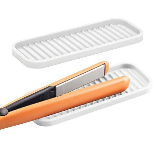 mDesign 2er-Set Matte aus Silikon für Lockenstab und Glätteisen – praktische Auflage für den Waschtisch – schützende Ablage für erhitzte Haarstyling-Geräte – weiß