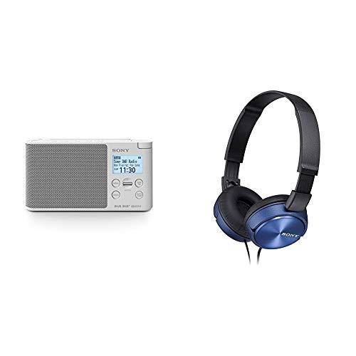Sony XDR-S41D Digitalradio (DAB+, FM, RDS, Wecker) & MDR-ZX310L Lifestyle Kopfhörer, Blau