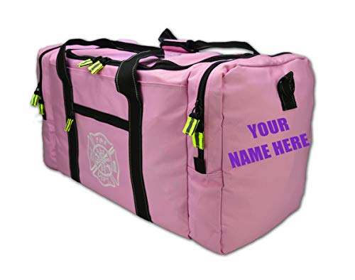 Lightning X Value Firefighter Turnout Gear Bag w/Maltese Cross and Custom Embroidered Name - PINK
