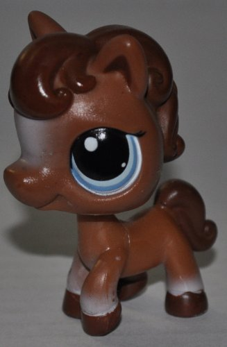 Horse #337 (No Saddle, Brown, Blue Eyes) Littlest Pet Shop (Retired) Collector Toy - LPS Collectible Replacement Single Figure - Loose (OOP Out of Package & Print)