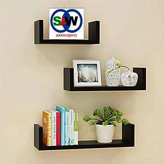 saqib ali wooden handicrafts S.A. Wooden Wall Rack Shelves Black Set of 3 Shelves (4 x 16 x 4, 4 x 12 x 4, 4 x 8 x 4 inche...