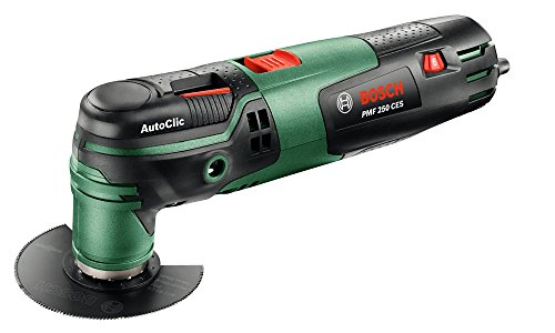 Bosch Multiherramienta PMF 250 CES, tope de profundidad, adaptador para aspiración, 2 hojas de sierra, placa lijadora, 6 hojas de lija, maletín (250 W, Starlock, Oscilación:2,8°)
