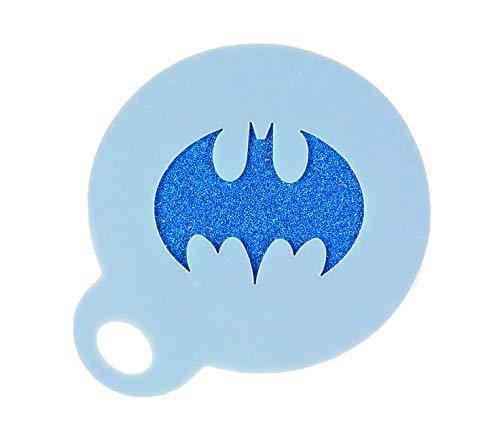 Batman Logo Coffee Duster Mylar Stencil Approx 8.5cm Washable Reusable Food Safe