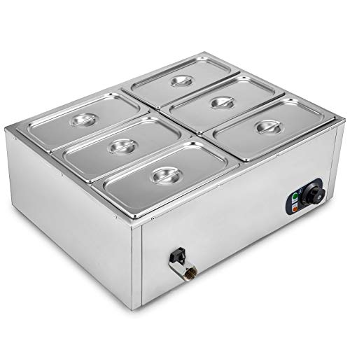 VEVOR 110V 6-Pan Commercial Food Warmer 850W Electric Countertop Steam Table 15cm/6inch Deep Stainless Steel Bain Marie Buffet Large Capacity 7 Quart, 6x7, Silver