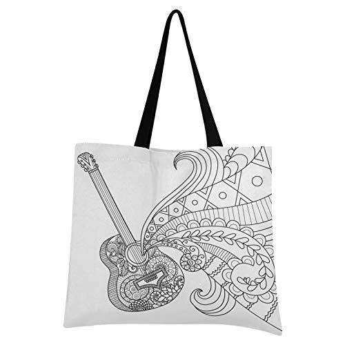 LDIYEU Weiße Abstrakte Gitarre Einkaufstasche Faltbar Wiederverwendbare Tragbare Aufbewahrung Stofftasche Dauerhaft Handtasche für Frauen Mädchen