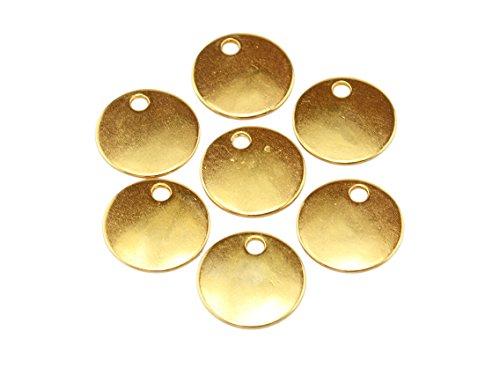 runde Anhänger als Plättchen in goldfarben 16mm 10 Stück von Vintageparts Anhängerplättchen goldfarbender Anhängerschmuck