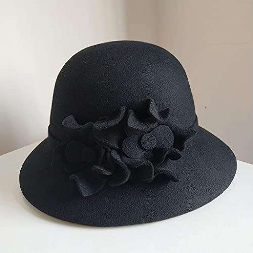 AAKKY Autumn Winter Lady Warm Felt Hat Women Vintage Felt Fedora Hat Woolen Womens Hats (Color : Black, Size : Adjustable)