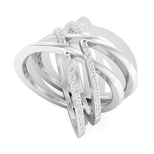 Rosec Jewels 14 quilates oro blanco redonda Moissanite