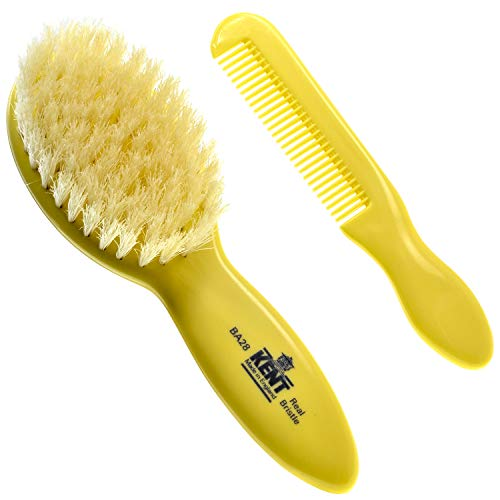 Kent Baby Hair Brush Super Soft Gentle For Newborn and Toddler Encourages Growth and Shine Perfect Baby Shower and Registry Gift (BA28)