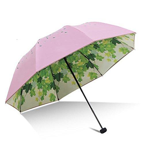 Doppelte Schicht Grüner Baum Blatt Falten Reise Sonnenschirm Sonnenschutz UV Schutz UPF 50+ Regenbeständige Kompakt Größe Sonnenschirm Falten in Geldbörse(blau)
