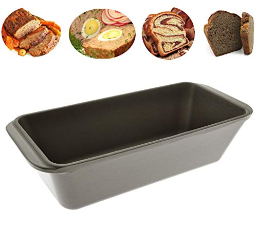 Enameled Cast Iron Loaf Pan, Bread Baking Mold, Meatloaf Pan, Casserole (Black Matt)