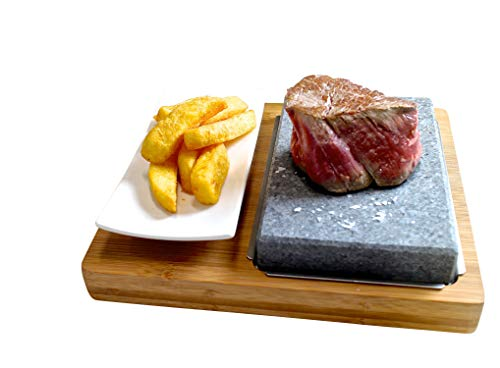 Black Rock Grill Lava Steak Stone Set, Hot Cooking Stone Steak Set Hibachi Black Rock Grill Lava Griddle Steakstone