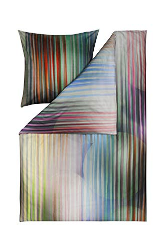 ESTELLA Mako Satin Bettwäsche Impulse Ombre Farbe Multicolor Bunt Streifen Kreise, 155x220 cm 80x80 cm 100% Baumwolle