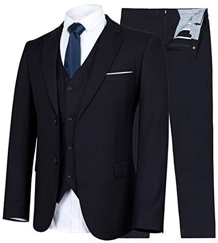 YIMANIE Men's Suit Slim Fit 2 Button 3 Piece Suits Jacket Vest & Trousers Black