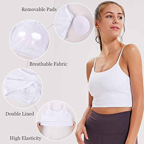 UMIPUBO Women Sports Bra Comfort Bra Seamless Mid Impact Yoga Bras Tank Top Lady Athletic Solid Wrap Chest Strap Vest Tops Bra Push Up Bras White