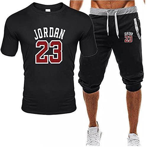 BJZX Jordan 23 # - Chándal para hombre, camiseta y pantalones cortos para correr de primavera y verano, sudaderas de moda para calle, suave y cómodo, chaleco de gimnasio, color negro