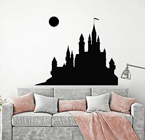 Wandaufkleber Wandsticker Märchen Mittelalterliche Burg Vollmond Vinyl Kunst Fenster Kind Kinder Mädchen Schlafzimmer Babyzimmer Wohnkultur 42X50 cm