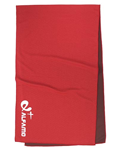 "Cooling Towel for Instant Relief - 40"" Long As Scarf - XL Ultra Soft Breathable Mesh Yoga Towel - Keep Cool for Running Biking Hiking Golf & All Other Sports, Waterproof Bag Packaging with Carabiner"
