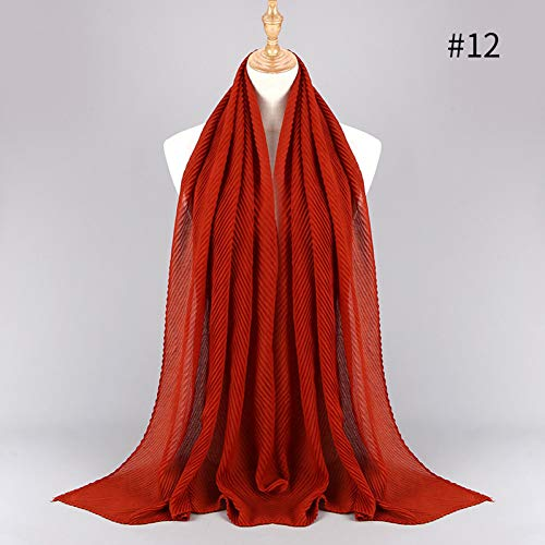 HCJZ Schal Frauen Baumwolle Crinkle Plissee Schal Hijab Plain Solid Color Plissee Geraffte Falten Lange Große Schals Hijabs,12 Caramel
