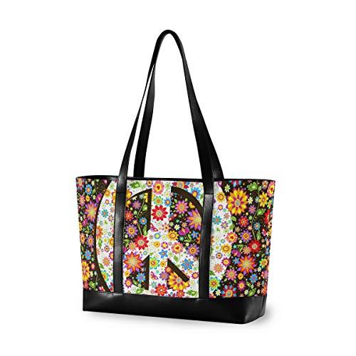 LZXO Laptop-Tasche, (15,6 Zoll), bunt, florales Peace-Zeichen für Frauen, große Schultertasche mit Reißverschluss, leicht,Handtaschen