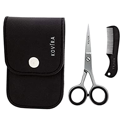 """Beard & Mustache Grooming Kit (2 Pieces) - Stainless Steel Styling Scissors (11.43cm/4.5"""") & Comb (7.11cm/2.8"""") - Perfect for Shaping & Trimming Facial Hair - Beard Grooming Shears With Black Case from Kovira"""