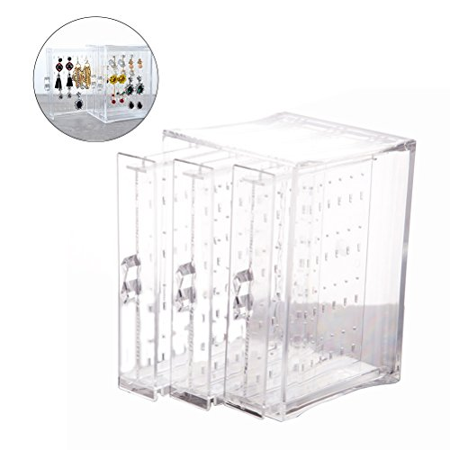 OULII Earring Display Stand Organizer Holder Jewelry Storage Box Acrylic with 3 Vertical Drawers