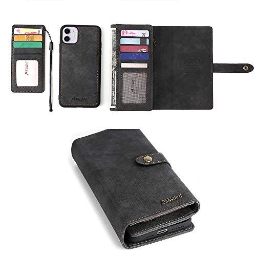 YIY iPhone XR Case, iPhone XR Wallet Case, 2-IN-1 Portemonnee Telefoonhoesje Stand Cover met Kaart/Cash Houder & Opmerking Zakken voor Apple iPhone XR, Zwart