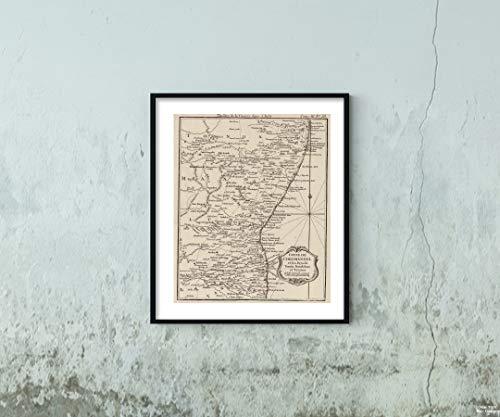 1764 Map Chart Atlas Coste de Coromandel et les Pays de Tonda, Mandalum et Tanjaor Vintage Fine Art Reproduction Size: 20x24 Ready to Frame