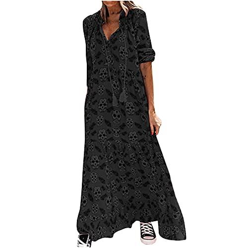 Masrin Frauen langes Kleid Knöchellanges Kleid im Gothic-Stil mit Totenkopf-Print Bandage V-Ausschnitt Langarm Loses Etuikleid Party Kleid Strassenmode(XXL,Schwarz)