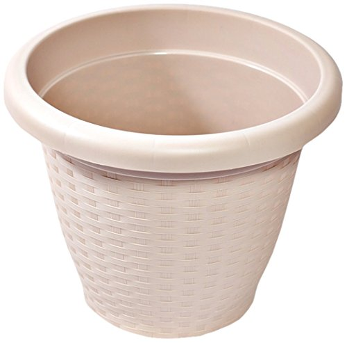 Hobby & Style 16141.0 Pot Rond Rattan, Taupe, 25 x 25 x 20 cm