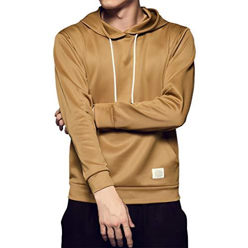 Xmiral Sweatshirt mit Kapuze Einfarbig Tasche Tunnelzug Kapuzenpullover Hooded Outwear Lange Ärmel Pullover Herbst Winter Slim Fit Mantel (Khaki,M)