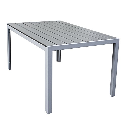 Trueshopping Malmo Polywood Outdoor Dining Table with Aluminium Frame in Grey 150 x 92 x 73 cm