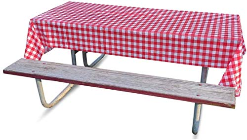 Disposable Tablecloths (5 Pack) - Plastic Tablecovers for Picnics or Parties with Checkered Red and White Design