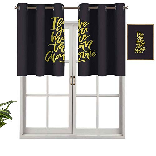 Hiiiman Short Curtains Valance Privacy Protection Black and Yellow Composition Romantic Words of Affection for Your Love, Set of 1, 42'x18' Window Curtain Drapes for Bathroom Kitchen Living Room
