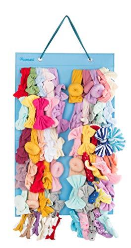 Hanging Baby Girl Headbands Storage Organizer, Newborn Headbands and Bows Holder(Large 12 Snap Band,ice Blue + Blue Haze)