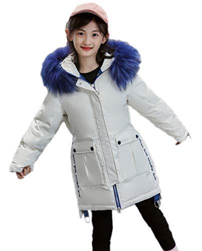 BININBOX Mantel Für Mädchen Langer Parka Mit Kapuze (Weiß, 140CM)