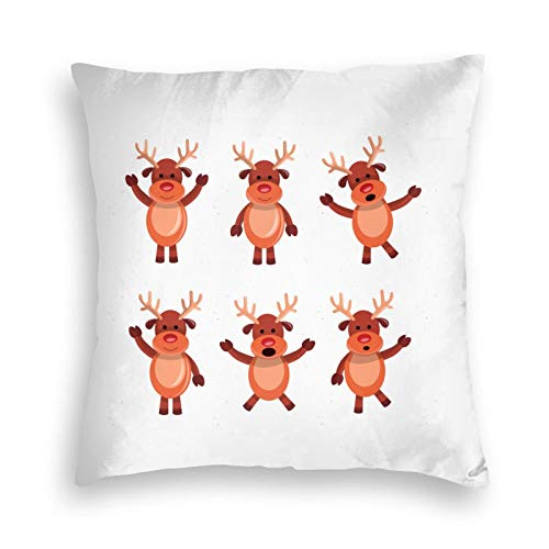 9089 Christmas-Deer-Cartoon- Throw Velvet Pillow Covers Decorative Pillowcase Printed Pattern Soft Cushion Covers for Sofa Bedroom Car Outdoor Couch
