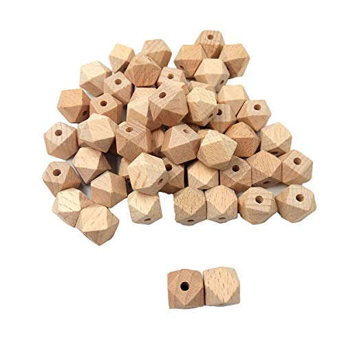 Arakierst 50pcs Natural Wood Geometric Hexagon Beads 10mm Beech Polygon Ball Wooden Loose Spacer Beads for Crafts DIY Jewelry Making