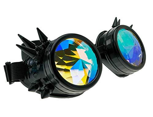 4sold Kaléidoscope Cyber Steampunk Lunettes de Natation Rave Vintage Style Victorien Gothique comme Lunettes de Soleil (Kaleidoscope Goggles Black Studs)