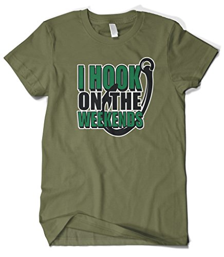 Cybertela Men's I Hook On The Weekends, Funny Fishing T-Shirt (Olive Green, X-Large)