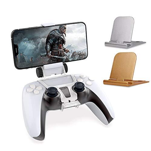 Supporto per clip di montaggio per telefono per controller wireless PS5 DualSense, staffa per morsetto da gioco regolabile per telefono con supporto per telefono da 2 pezzi