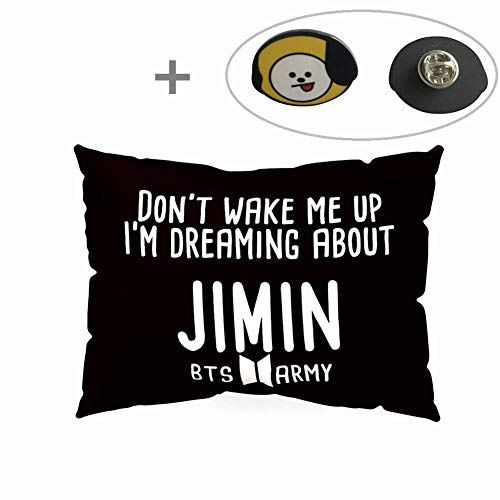 Skisneostype BTS Pillowcase Kpop Bangtan Boys 50 x 30 CM Soft Velvet Throw Pillow Case with One BTS Cute Brooch Pin Badge Free Best Gift for A.R.M.Y(Style 01-JIMIN)
