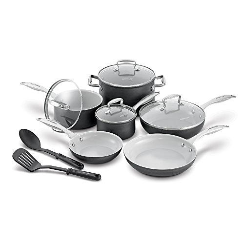 GreenLife Classic Pro Hard Anodized Healthy Ceramic Nonstick Metal Utensil Dishwasher/Oven Safe Cookware Set, 12pc, Light Gray
