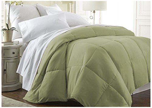 ienjoy Home Becky Cameron Baffle Box Alternative Goose Down Comforter, Twin/Twin X-Large, Sage by ienjoy Home