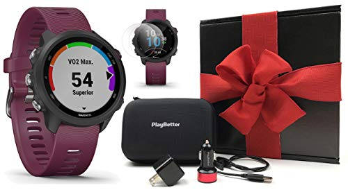 Garmin Forerunner 245 (Berry) Gift Box Bundle | +PlayBetter HD Screen Protectors (x4), USB Car/Wall Adapters & Hard Case | Prepacked with Bow & Crinkle Paper | Running GPS Watch, VO2 Max, Garmin Coach