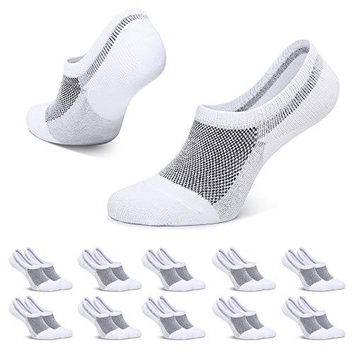 TUUHAW Sneaker Socken Damen Herren Füßlinge 10 Paar Footies Kurze Unsichtbare No Show Socken Großes Silikonpad Anti Rutsch Weiß 35-38