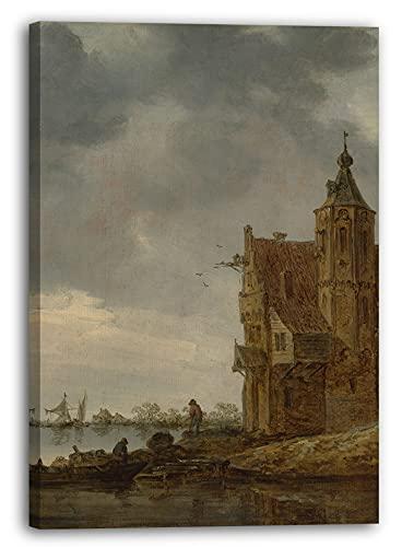 Printed Paintings Leinwand (60x80cm): Jan Van Goyen - Landhaus nahe dem Wasser