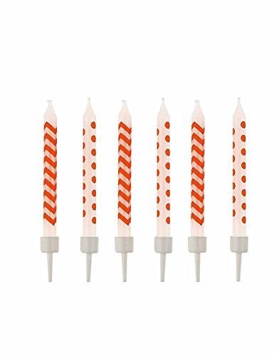 amscan - 9900261 - 10 Birthday Candles Peel Dots et Chevron - Orange